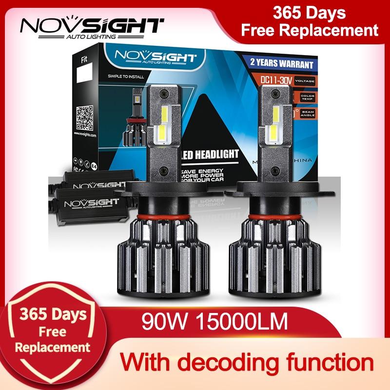 NOVSIGHT H7 светодиодный H4 H11 9006 9005 Автомобильные фары лампы 90 Вт 15000LM декодер светодиодная фара головного света автомобиля светодиодный налобны...