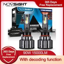 NOVSIGHT-bombillas LED para faros delanteros de coche, decodificador de 90W, 15000LM, 9006 K, 12V, 24V, H7, H4, H11, 9005, 6000