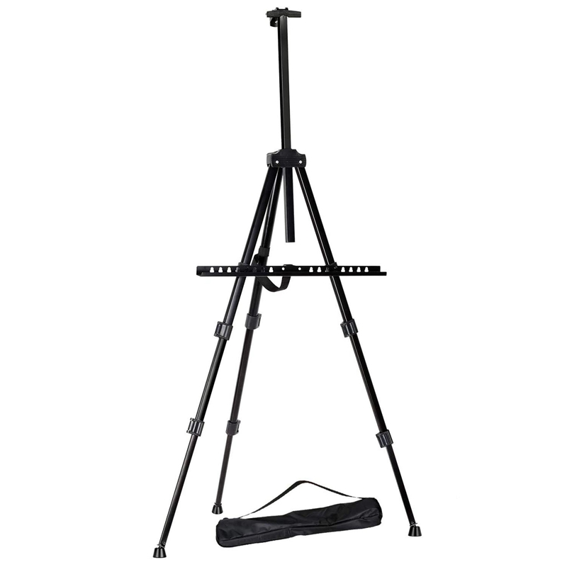 65Inch Aluminum Display Easel Artist Easel Tripod with Portable Bag Adjustable Height From for Table-Top/Floor Painting