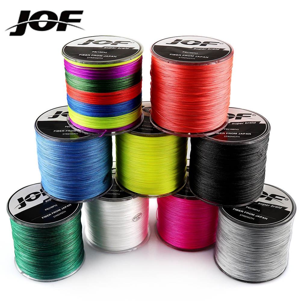 JOF Fishing Line 8 Strands 4 Strands PE Braided 500 Meters Multifilament Fishing Line Rope peche carpe Wire 20-88lb