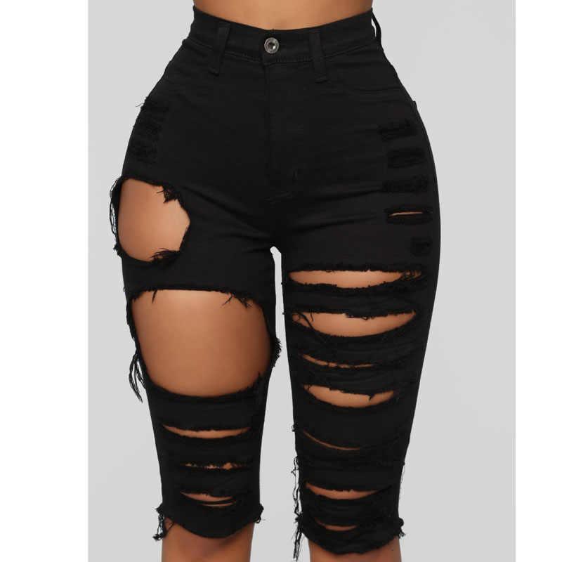 Pantalones Cortos Vaqueros Rasgados Para Mujer Vaqueros Cortos Con Agujeros De Cintura Alta Bodycon Color Negro Verano 2020 Pantalones Cortos Aliexpress