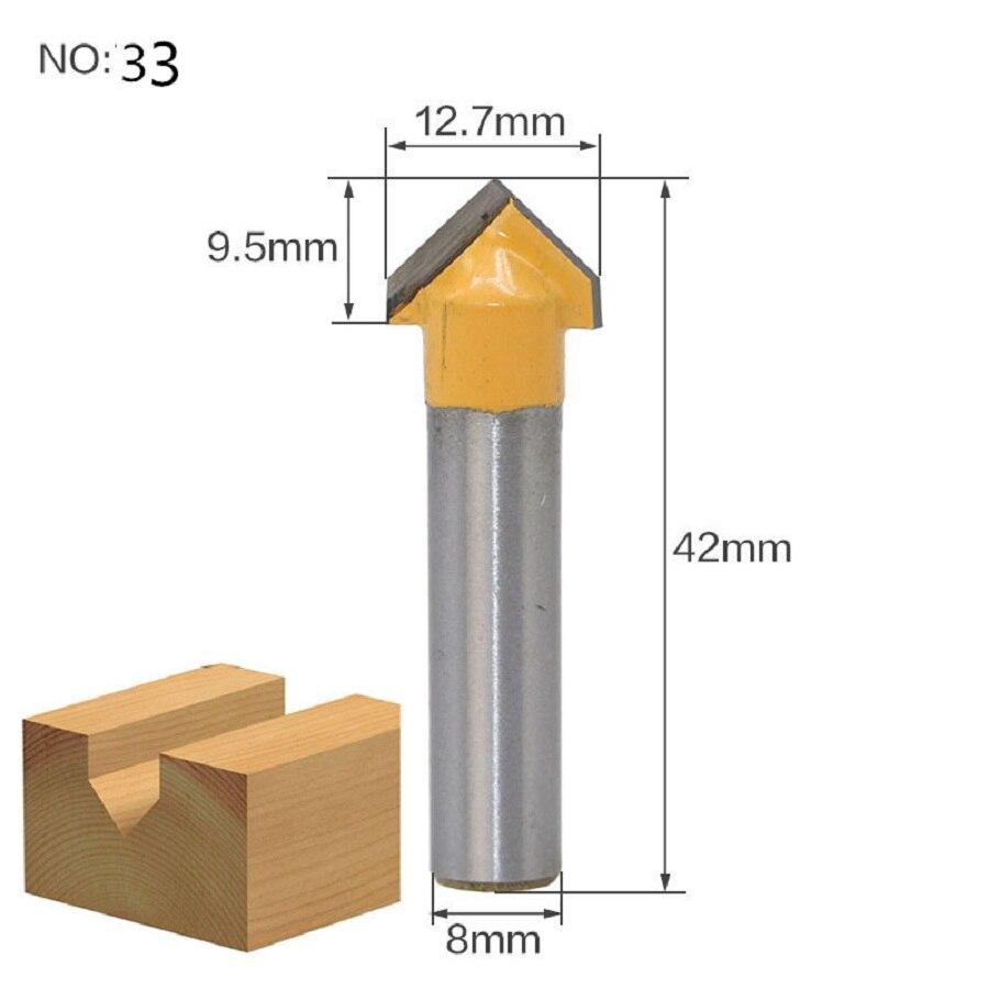 1 шт. 8 мм хвостовик триммера Ceaning Flush Trim древесины фрезы прямой конец Milll вольфрамовые фрезы для дерева Деревообрабатывающие инструменты - Длина режущей кромки: NO 33