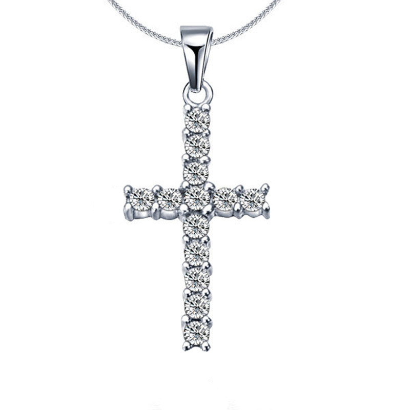 Luxury Classic Cross CZ Pendant Necklace Women's Wedding Party Clavicle Choker Chain Romantic Valentine's Day Jewelry Gifts