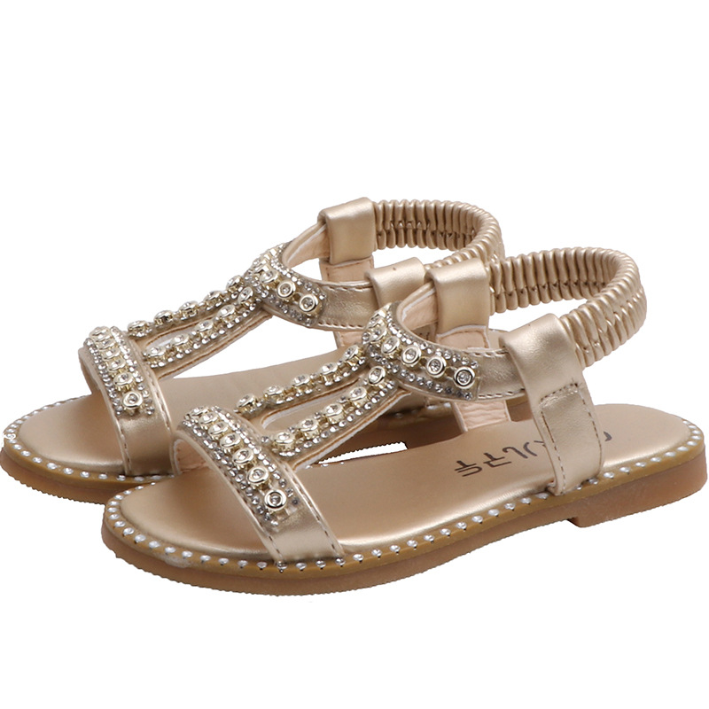 Kids Girls Sandals 2020 Summer New Fashion Bright Rhinestone Princess Shoes Flat Children Sandals Toddler Baby Shoes Silver Gold