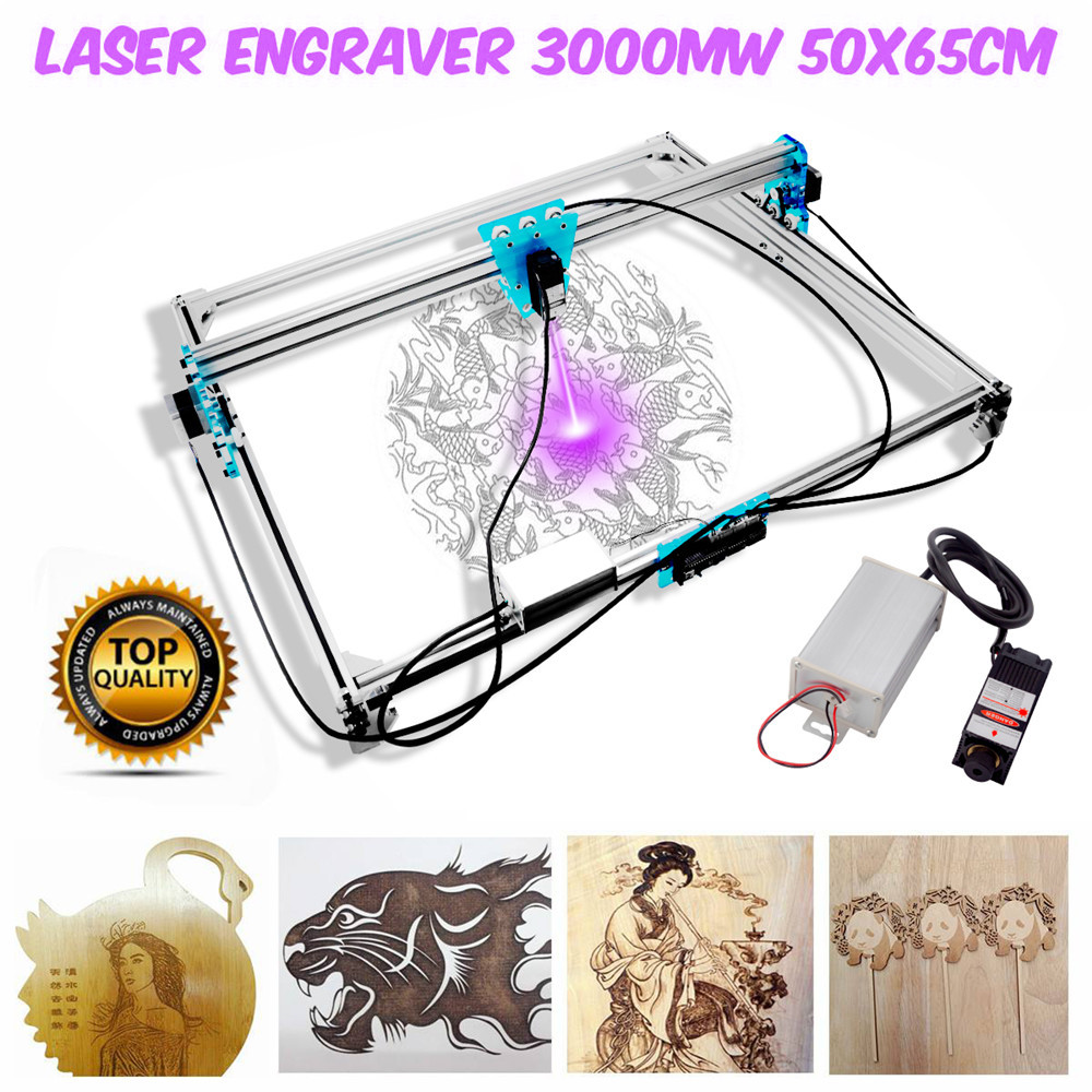 65x50cm Mini 3000mw Laser Engraver Machine Blue CNC Laser Engraving Machine DIY Engraver Desktop Wood Router/Cutter+Laser Goggle