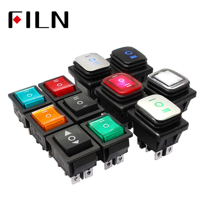 on off on KCD4 IP67 Waterproof Sealed Rocker Switch 3 way 6 Pins Heavy Duty DPDT switch Momentary on 30A 250v 12V 220V with lamp