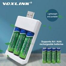 VOXLINK-cargador de batería con 3 ranuras, dispositivo de carga USB para AA/AAA, cargador de pilas recargables para mando a distancia, micrófono, cámara y ratón