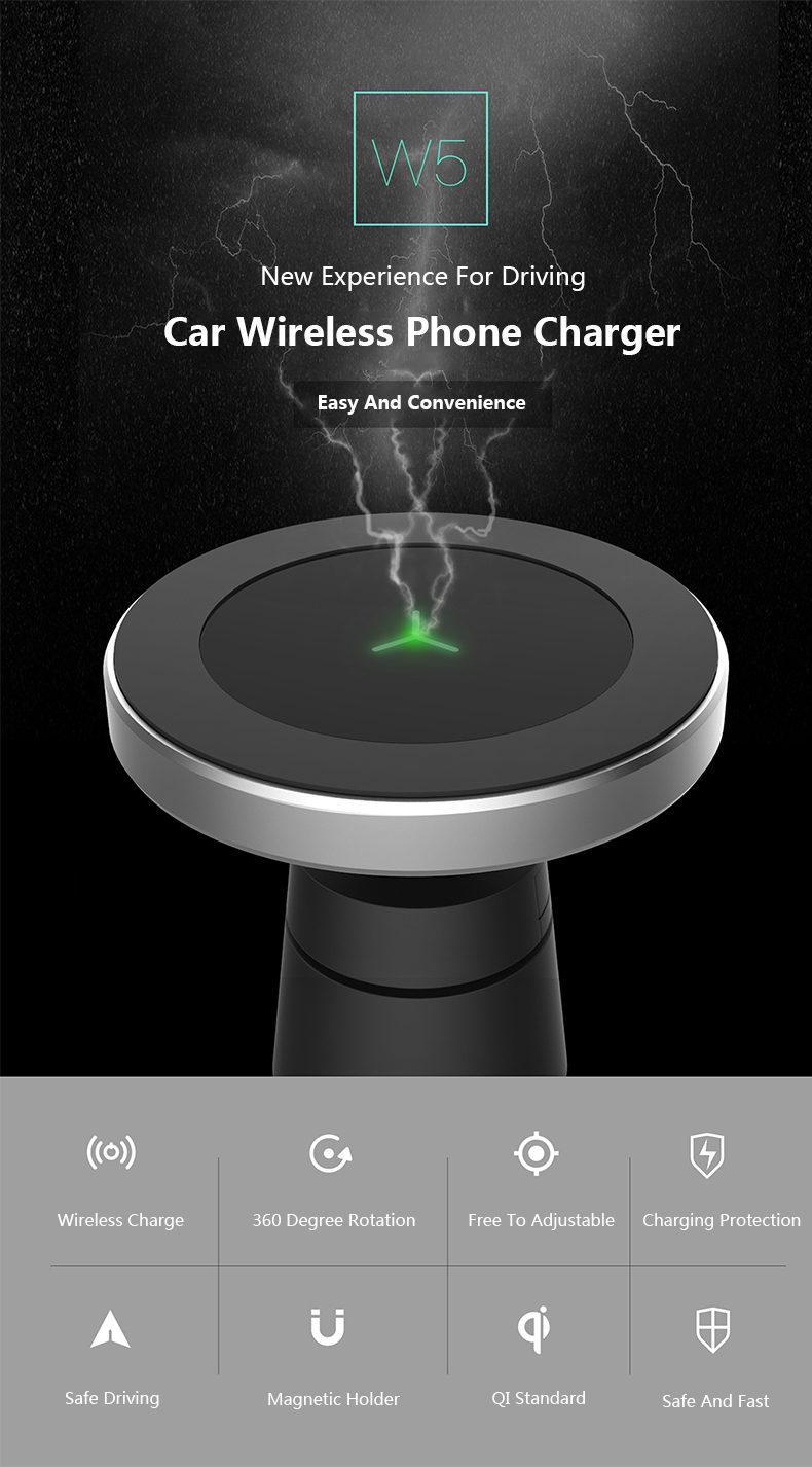 360 Degree Rotation Car Phone Wireless Charger For Samsung S8 S8 Plus S7 Edge Dashboard Wireless Charger Stands Air Vent Holder (3)