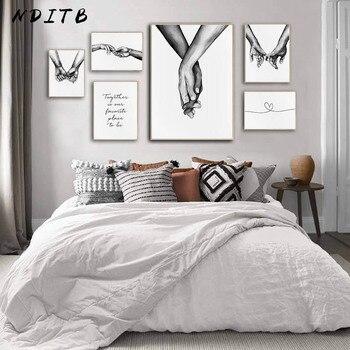 Romantische Hand In Hand Canvas Schilderij Zwart Wit Wall Art Poster Print Nordic Mode Foto Koppels Liefhebbers Kamer Decoratie 1