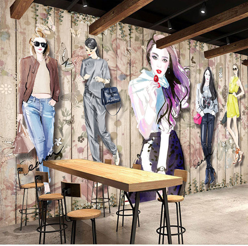 Cool Trend Graffiti Wallpaper Fashion Beauty Clothing Store Stores Wall Wallpaper Vintage Hand-Painted Workwear Mural