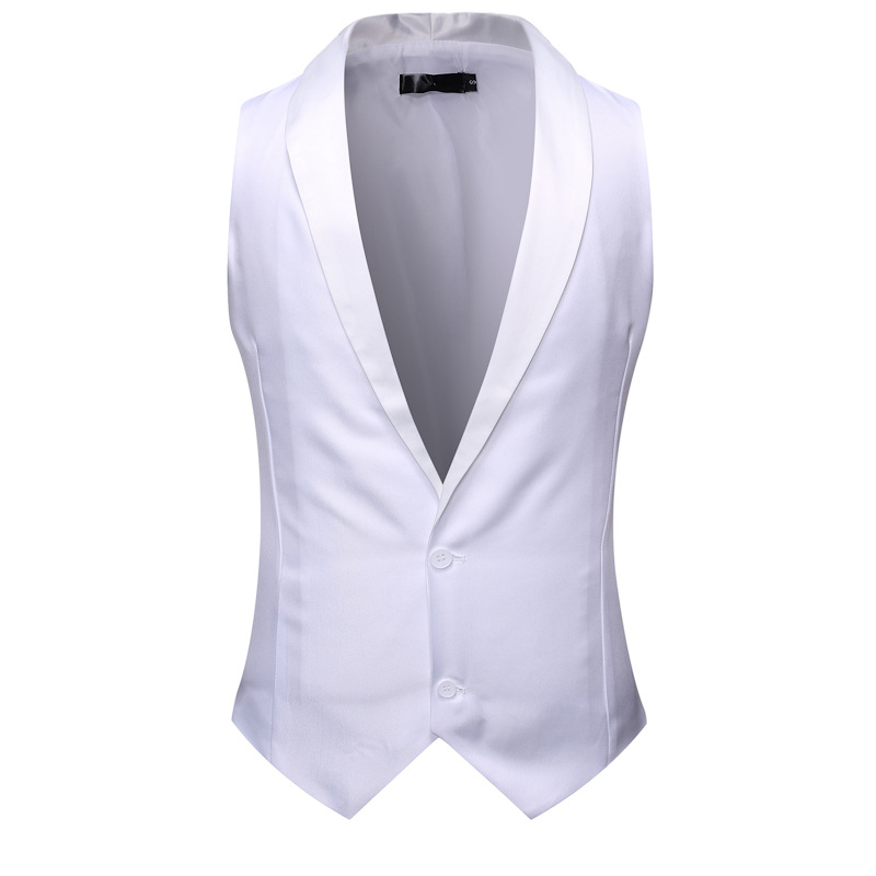 White Shawl Collar Tuxedo Vest Men 2019 Brand Slim Fit Sleeveless Vest Waistcoat Men Party Wedding Groom Gilet Homme Costume XXL
