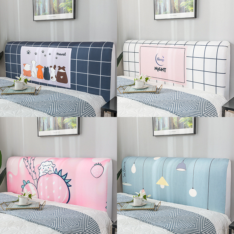 Nordic style Elastic All inclusive Bed Headboard Cover Full Enclosed Dust proof Cover Cartoon Printed Bed
