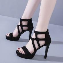 Черные босоножки на платформе и высоком каблуке 11 см; Женские