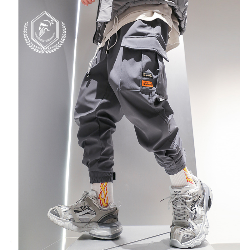 Men Fashion Loose Solid Safari Style Harem Jogger Pants Casual Pockets Ankle-Length Hip Hop Pants