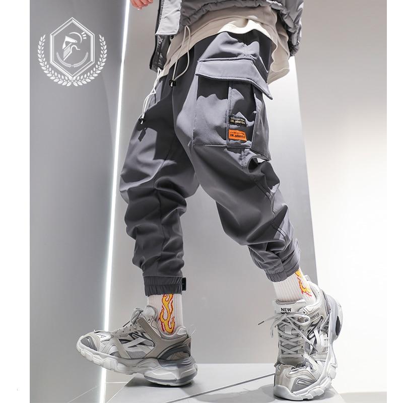 Men Fashion Loose Solid Safari Style Harem Jogger Pants Casual Pockets Ankle-Length Hip Hop Pants
