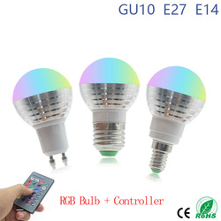 Светодиодная RGB-лампа E27 E14 GU10, 16 цветов, 85-265 в
