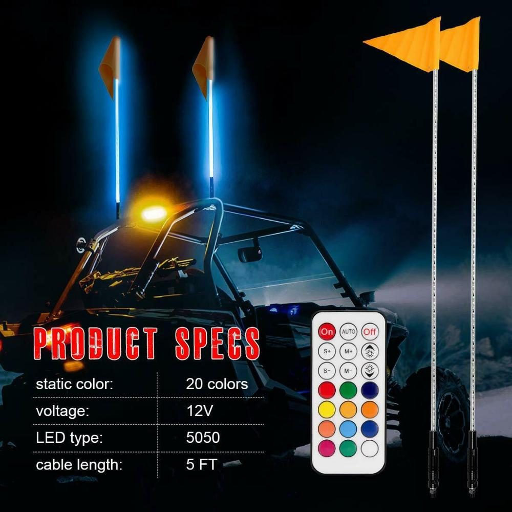 ATV UTV LED Whip Lights Safety Flag Pole Antenna Lights Compatible with Polaris RZR Sand Dune Buggy Quad Truck Boat 5FT RGB One Whip Lights,One Remote Control