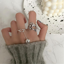 XIYANIKE 925 Sterling Silver Korean Fishbone Ball Pendant Ring Women's Simple Glossy Index Finger Prevent Allergy Fashion Gift