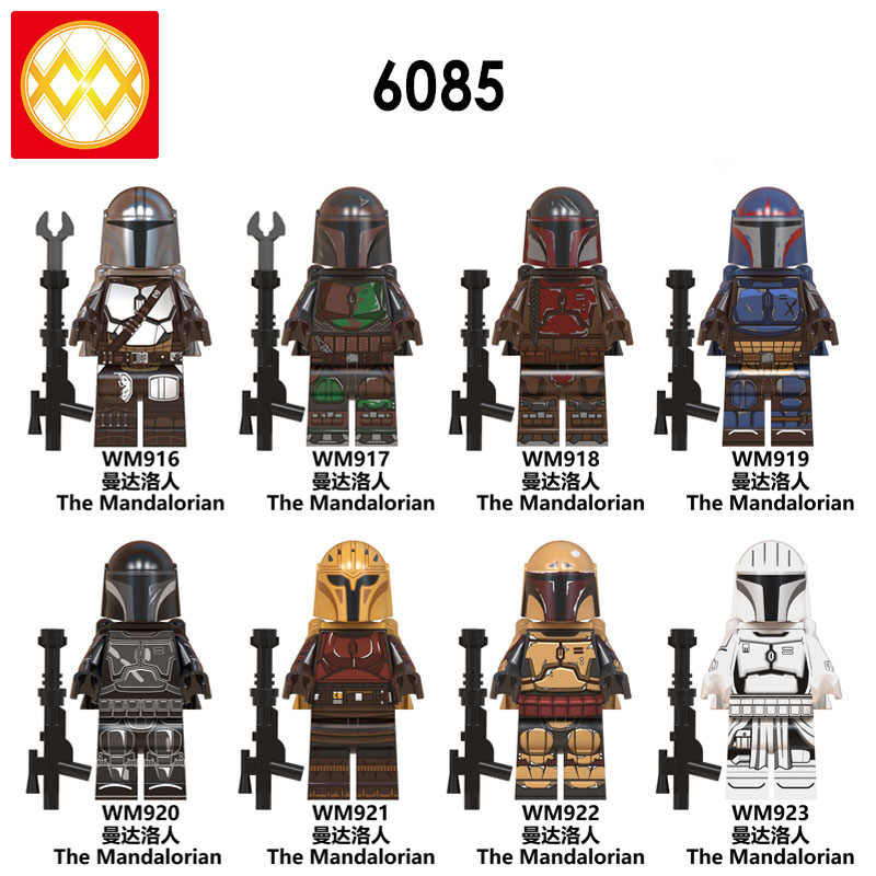 Free Shipping WM6085 The Mandalorian Baby Yoda Knights of Ren Virtual Community Kylo Vadar Figures Building Blocks Children Toys
