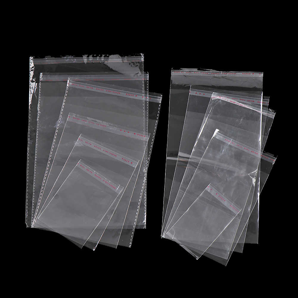 100pcs/pack Transparent Self Adhesive Seal Bags OPP Plastic Cellophane Bags Gifts Candy Bag & Pouch Jewelry Packaging Bag