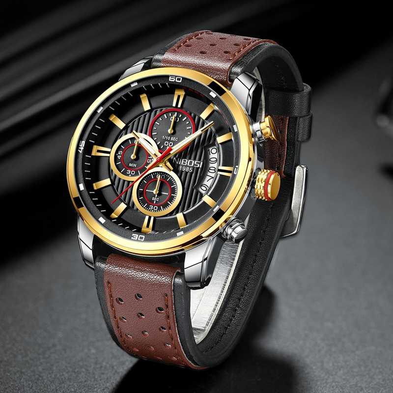 NIBOSI 腕時計防水メンズ腕時計クォーツ時計革男性腕時計レロジオ Masculino ファッションギフトの男性