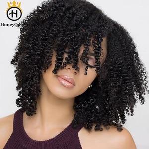 Clip rizado mongol, extensiones de cabello humano con pinza 3B 3C de Color Natural, extensiones de cabello humano con 7 uds, 120 gramos por juego, Remy Honey Queen