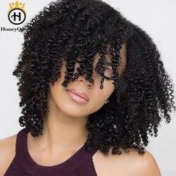 Extensiones de cabello humano rizado mongol con Clip 3B 3C de Color Natural, 7 Uds., 120 gramos por Set de Honey Queen Remy
