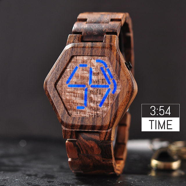 BOBO BIRD Luxury Brand Designe Digital Watch Men Night Vision Bamboo Watch Mini LED Watches Unique Time Display Gifts for Him
