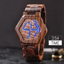 BOBO kuş lüks marka tasarım dijital saat erkekler gece görüş bambu saat Mini LED saatler benzersiz zaman ekran hediyeleri için o