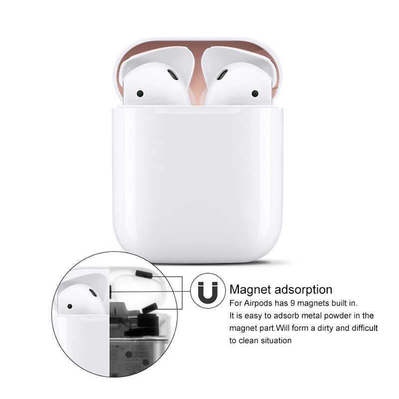 에어팟 ds에 대 한 금속 먼지 가드 스티커 1 2 애플 에어팟 대 한 피부 보호 스티커 1 이어폰 충전 상자 케이스 커버 쉘 피부