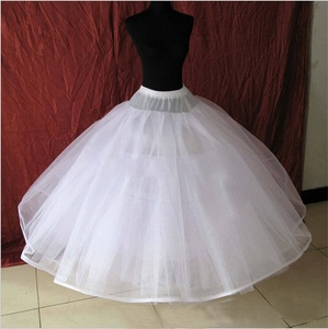 Image 1 - 8 Layers Hard Tulle Underskirt Wedding Accessories Chemise Without Hoops For A Line Wedding Dress Wide Puffy Petticoat Crinoline