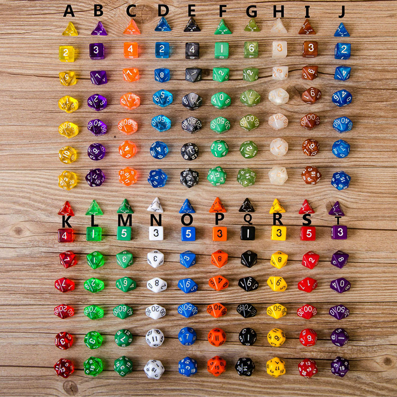 20 Kinds Option 7PCS/LOT High Quality Multi-Sided Dice With Pearlized Effect Dice Set