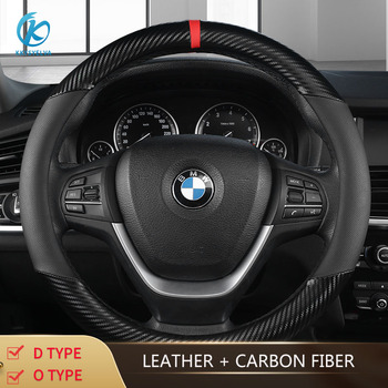 KKYSYELVA Car Steering Wheel Cover For 37-38CM Non-slip Leather Breathable Steering-Wheel Auto Interior Accessories
