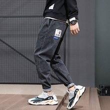 Японская Мода Мужские Джинсы Черный Цвет Свободная Посадка Сплайсированные Джинсовые Шаровары Эластичный Пояс Дизайнер Уличной Хип-Хоп