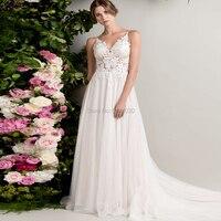 Spaghetti Straps Sleeveless Wedding Dresses A Line Robe De Soiree White/ Ivory Open Back Wedding Bridal Gowns