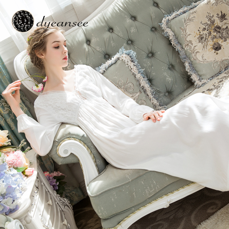 Dyeansee Vintage White Long Nightgown Women Night Gowns Princess Home Dress Cotton Nightgown V-neck Long Sleeve Home Wear