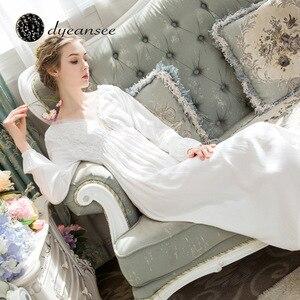 Image 2 - Dyeansee Vintage blanc longue chemise de nuit femmes robes de nuit princesse maison robe coton chemise de nuit col en v à manches longues vêtements de maison