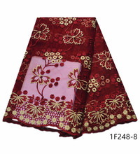 Best Wine Red French Tulle Net Laces Latest Nigerian African Fabrics For Womens Wedding Dress with Stones Embroidered 1F248