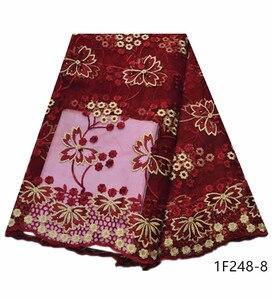 Image 1 - Najlepsze wino czerwone francuskie tiulowe siatka koronka najnowsze nigeryjskie afrykańskie tkaniny dla damska suknia ślubna z kamieniami haftowane 1F248