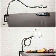 цена на 5X 100MM Multipurpose LED Illuminated Magnifier Metal Hose Magnifying Glass Desk Table Reading Lamp Light with Clamp