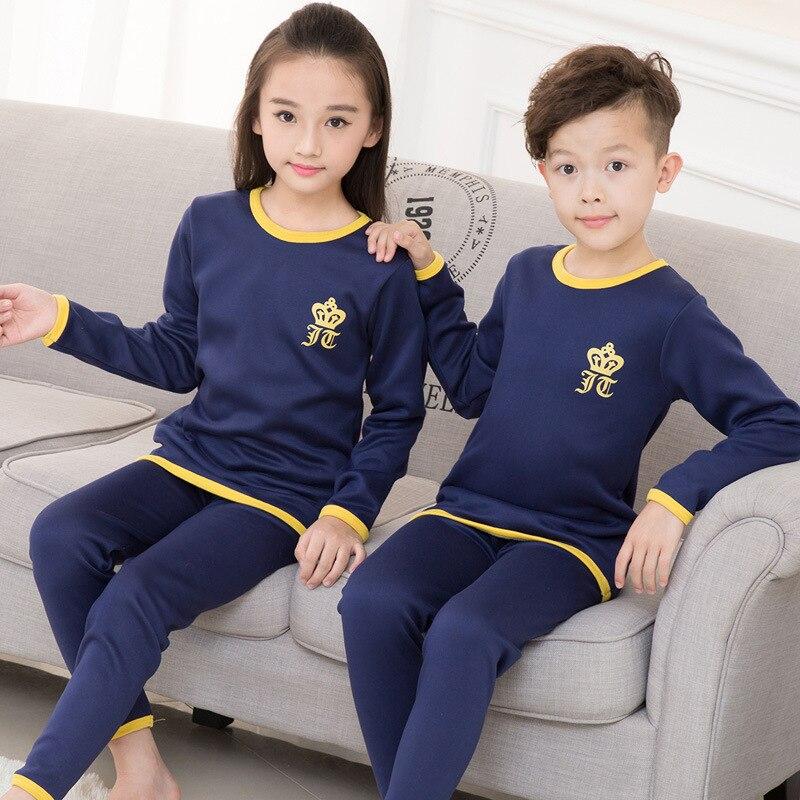 Children Sets 2019 Winter Kids Thermal Underwear Solid  Cotton O-Collar Children's Warm Suit Clothes Baby Boys Girls Pajamas