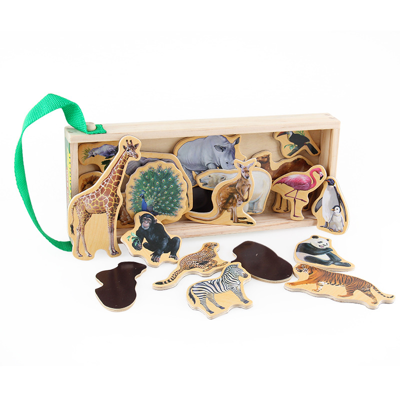 20Pcs Wooden Toys Colorful Cartoon Animals Dinosaur Building Forest Animal Puzzle With Wooden Box Learning Toys Magnetic Sticker