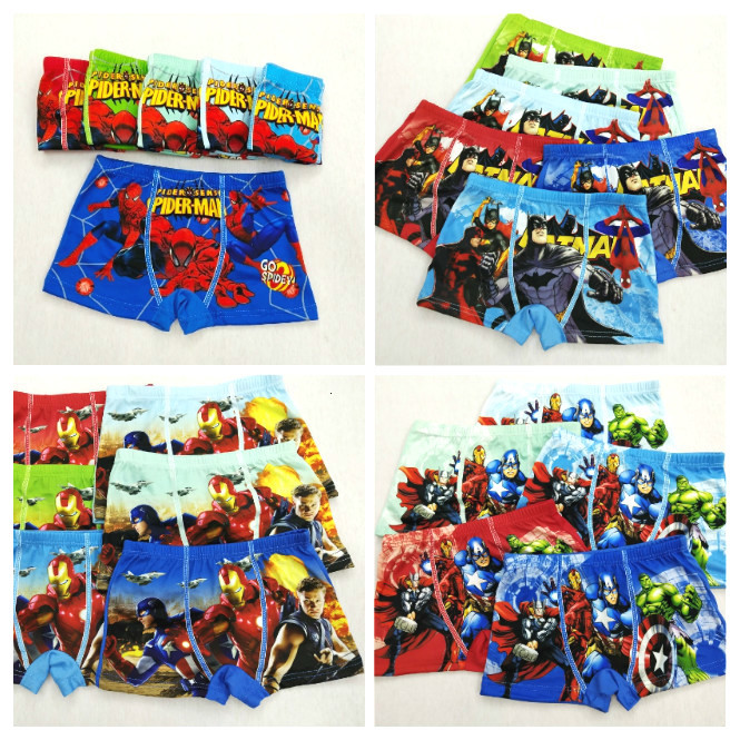 4pcs/lot New Boys Underwear Boxers Underpants Super Hero Spiderman Car Batman Kids Cotton Panties Panty Briefs Infant Teenagers
