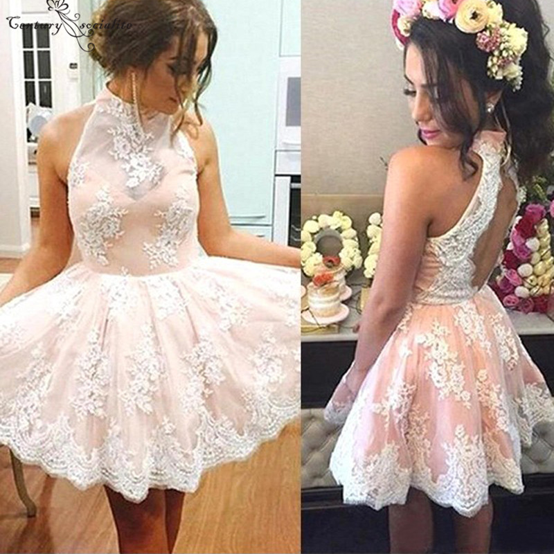 Backless Sexy Cocktail Dresses Short Lace Appliques Above Knee High Neck A-Line Mini Prom Party Gowns Homecoming Dress 2019