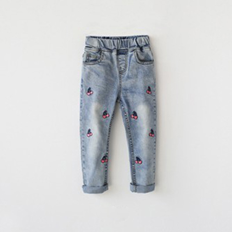 Girls autumn winter cherry printed denim pants kids jeans kids trousers for teenagers ripped jeans 3-12Years 2