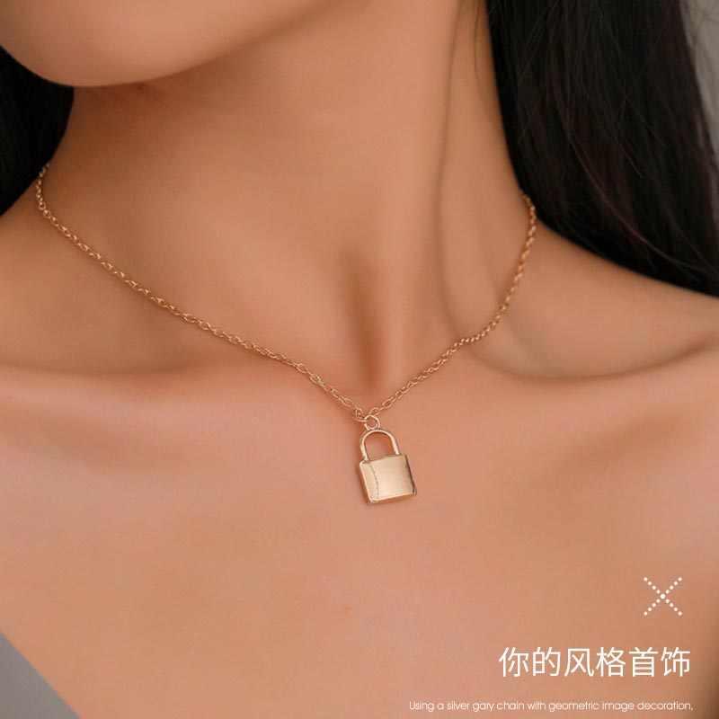 2019 Новые популярные женские ювелирные изделия серебряный цветной висячий замок кулон ожерелье новый бренд медь Rolo ожерелье цепочка Прямая доставка
