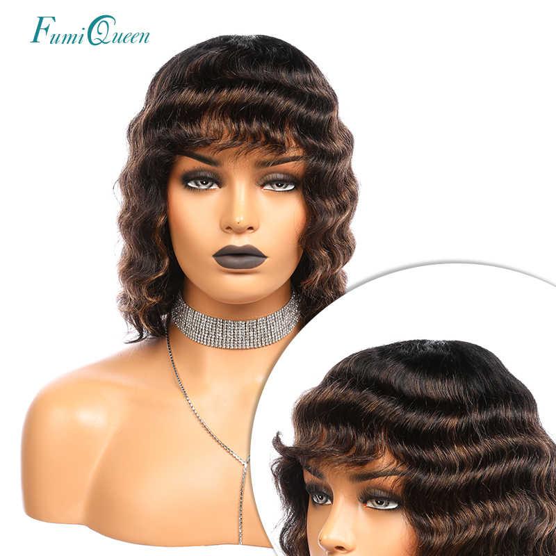 """Onda solta curto bob perucas com bang 12 """"cor preta 1b ombre 1b/30 brasileiro remy perucas de cabelo humano para a mulher completa máquina peruca"""