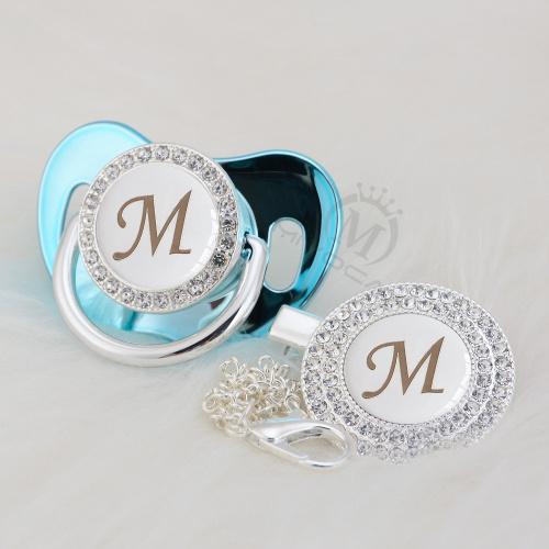 BLING silver name bling Initial letter M beautiful bling pacifier and pacifier clip BPA free dummy bling babyshower gift LM-1