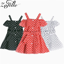 ZAFILLE 0-5Y Cotton Girls Clothing Off Shoulder Summer Dress For Girl Dot Baby Clothes 2020 Toddler Infant Cute