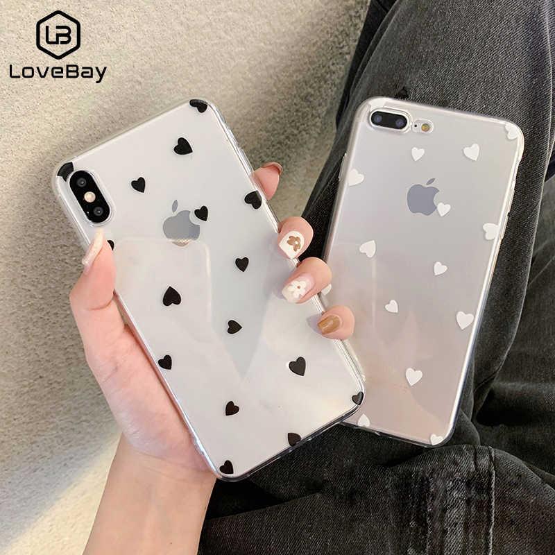 Lovebay telefon iphone için kılıf 11 6 6s 7 8 artı X XR 11Pro XS Max sevimli karikatür dalga noktası şeffaf yumuşak TPU iPhone X için kapak